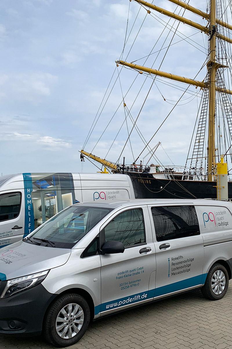 paderlift montiert Liftanlage auf Segelschiff in Hamburg